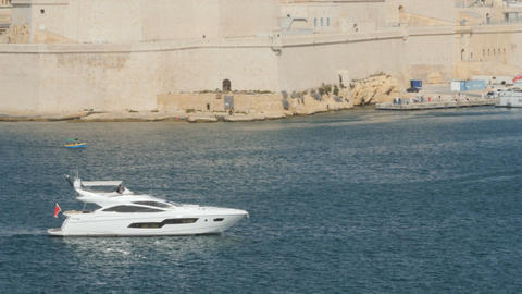 Yacht in the port of Valletta in the island of Malta Footage