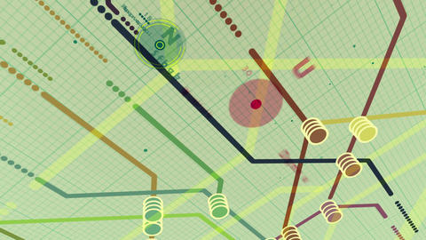 Animated metro map systew colored dots and lines Animation