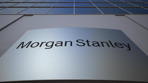 Outdoor signage board with Morgan Stanley Inc. logo. Modern office building Footage