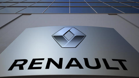 Outdoor signage board with Groupe Renault logo. Modern office building Footage