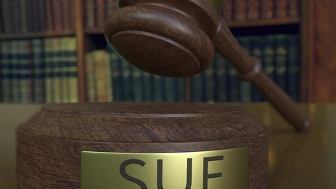 Judge's gavel falling and hitting the block with SUE inscription Footage