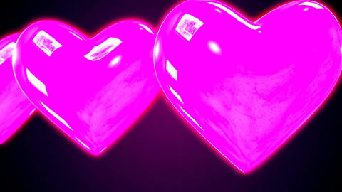 Abstract looping CGI motion graphics with flying hearts CG動画素材