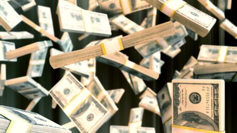 Abstract CGI motion graphics with falling dollar bills Animation