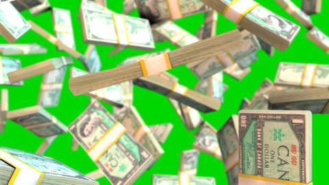 Falling canadian dollar bills on green screen Animation
