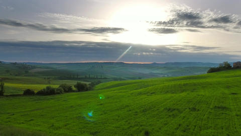 Tuscany aerial landscape at sunrise in Italy Footage