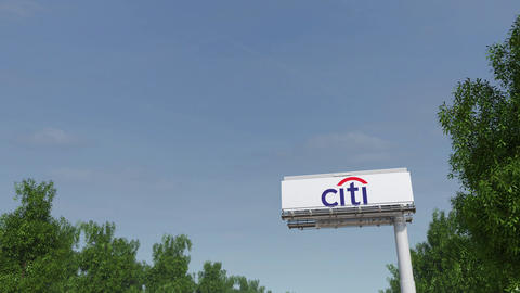 Driving towards advertising billboard with Citigroup…, Live Action