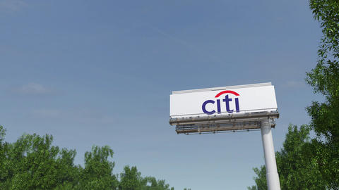 Driving towards advertising billboard with Citigroup logo. Editorial 3D Live Action