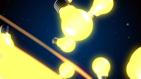 Abstract CGI motion graphics and flying bulbs Animation