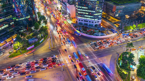Timelapse Traffic at night in Gangnam City Seoul, South Korea.Zoom in Footage
