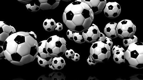Bouncing Soccer Balls On Black Background CG動画素材