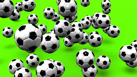 Bouncing Soccer Balls On Green Background Animation