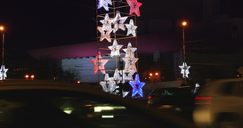 BUCHAREST - ROMANIA, December 2015, Night traffic with car pass and bright Chris Footage