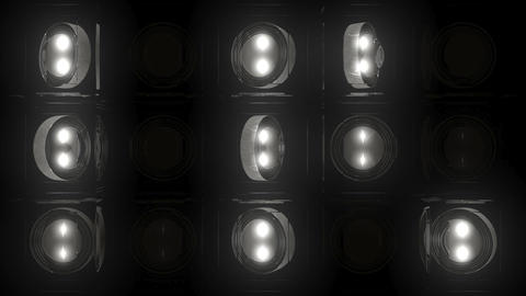 Wall of Roundels - Silver spinning discs and flashing... Stock Video Footage