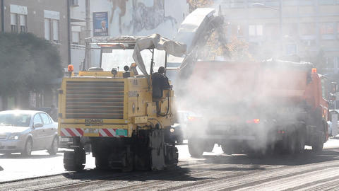 heavy machinery on road construction Footage