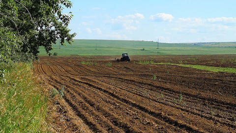 Farming. The Tractor Plows the Land Footage