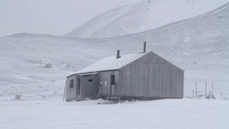 House in the snowy Antarctica Footage