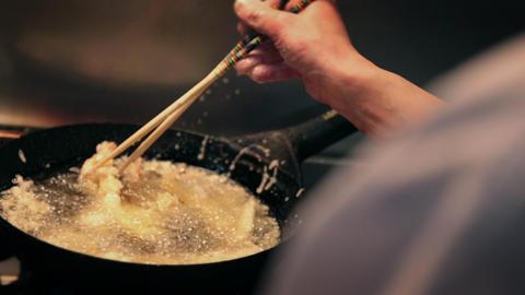 Cooking of tempura Live Action