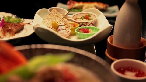 Arranged Japanese food Footage
