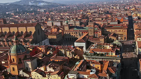 Italy. Old Bologna, Piazza Maggiore. Zoom Image