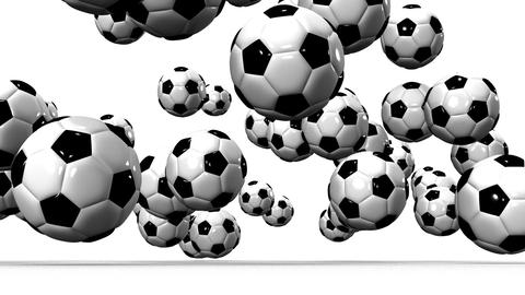 Bouncing Soccer Balls On White Background Animation