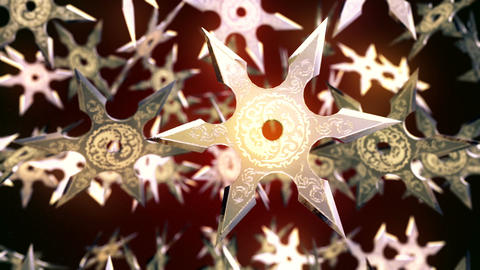 Abstract CGI motion graphics with flying shuriken Animation