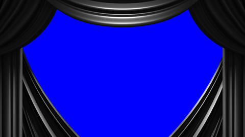Black Stage Curtain On Blue Chroma key Animation