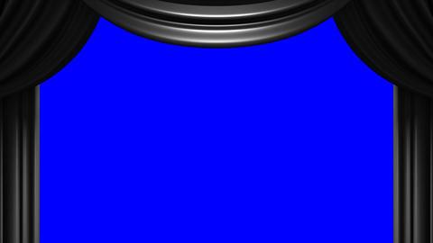 Black Stage Curtain On Blue Chroma key Stock Video Footage