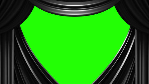 Black Stage Curtain On Green Chroma key Stock Video Footage