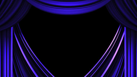 Blue Stage Curtain On Black Background CG動画