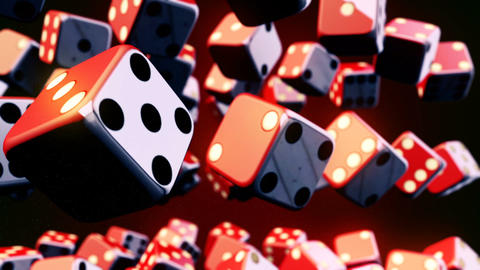 Abstract CGI motion graphics with flying dice Animation