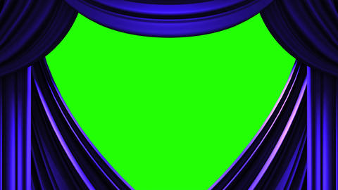 Blue Stage Curtain On Green Chroma key Animation