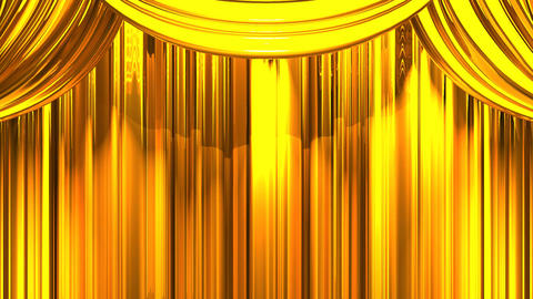 Gold Stage Curtain On Blue Chroma key Animation