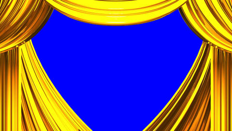 Gold Stage Curtain On Blue Chroma key, Stock Animation