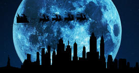 A 4K silhouette of Santa Claus and his reindeers flying over the city skyline at Animación