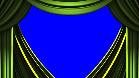 Green Stage Curtain On Blue Chroma key CG動画