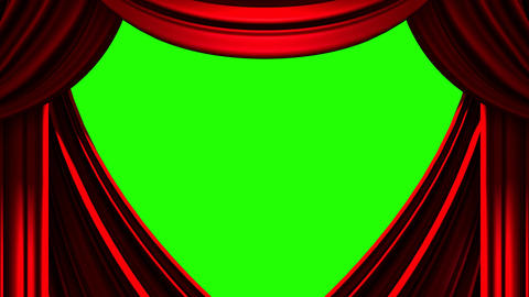 Red Stage Curtain On Green Chroma key CG動画