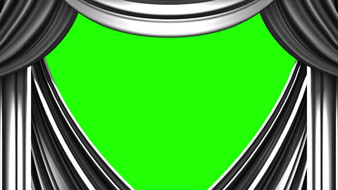 White Stage Curtain On Green Chroma key Stock Video Footage