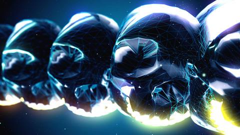 Abstract metallic skulls isolated on blue Animation