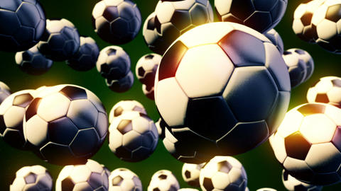 Abstract CGI motion graphics with flying soccer balls Animation