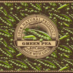 Vintage Green Peas Label On Seamless Pattern ベクター