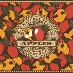 Vintage Red Apple Label On Seamless Pattern Vector