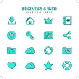 Business and web, blue fill icons set Vector
