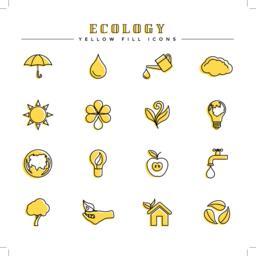 Ecology yellow fill icons set ベクター