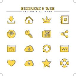 Business and web, yellow fill icons set Vector