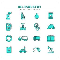 Oil industry and energy, blue fill icons set Vector
