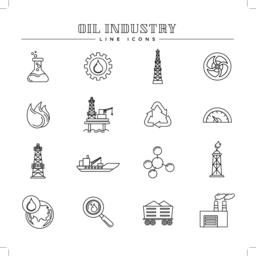 Oil industry and energy, line icons set Vector