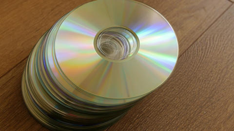 Closeup of a stack compact discs Footage