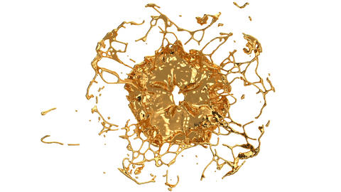 Melting gold splashes and flow in with slow motion. Alpha Animación