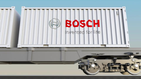 Railway transportation of containers with Robert Bosch GmbH logo. Editorial 3D Live Action