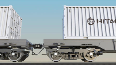 Railway transportation of containers with Hitachi logo. Editorial 3D rendering Footage